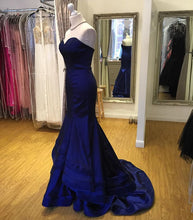 Royal Blue Mermaid Satin Prom Dress Strapless Women Evening Gowns