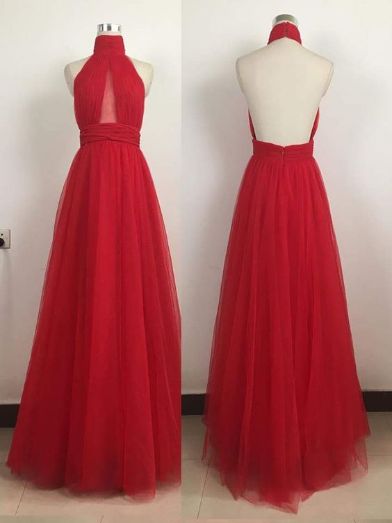 Halter Neck A-line Long Red Tulle Prom Dress Pleated 2019