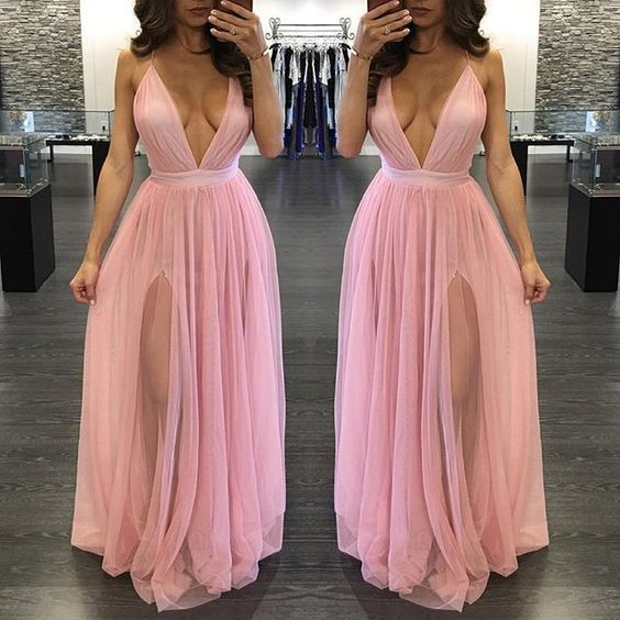 Deep V Neck Long Pink Tulle Prom Dress Spaghetti Straps