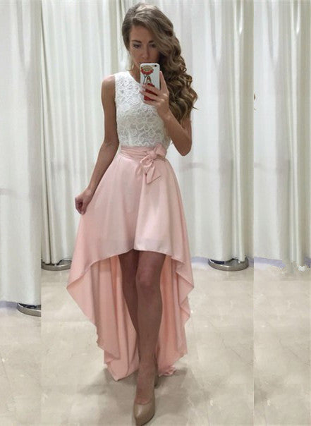 High Low Pink Chiffon Prom Dress Scoop Neck with Bow Tie