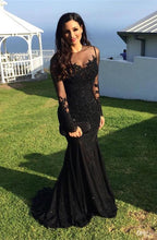 Long Sleeves Mermaid Lace Chiffon Prom Dress Lace Appliques