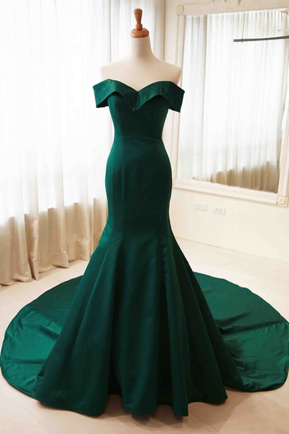 Off the Shoulder Mermaid Satin Prom Dress Floor Length Women Evening Dress