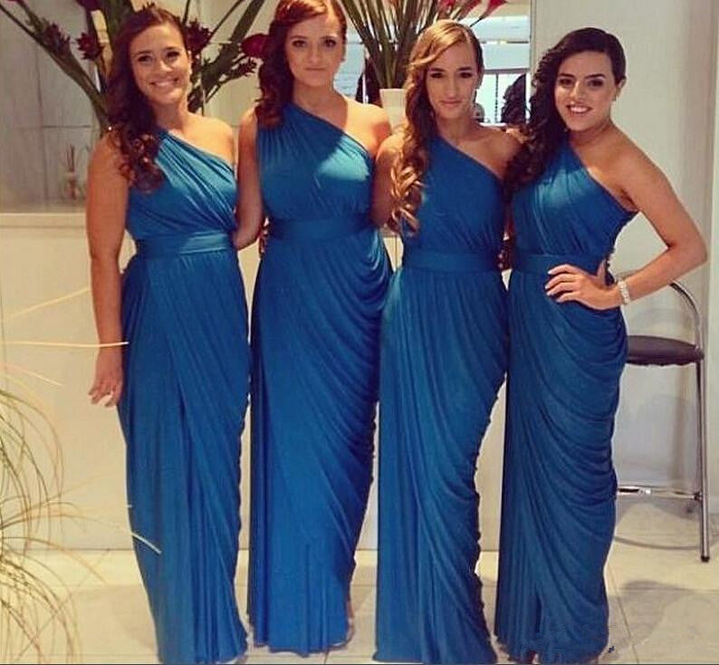 One shoulder Sheath Chiffon Pleated Bridesmaid Dress