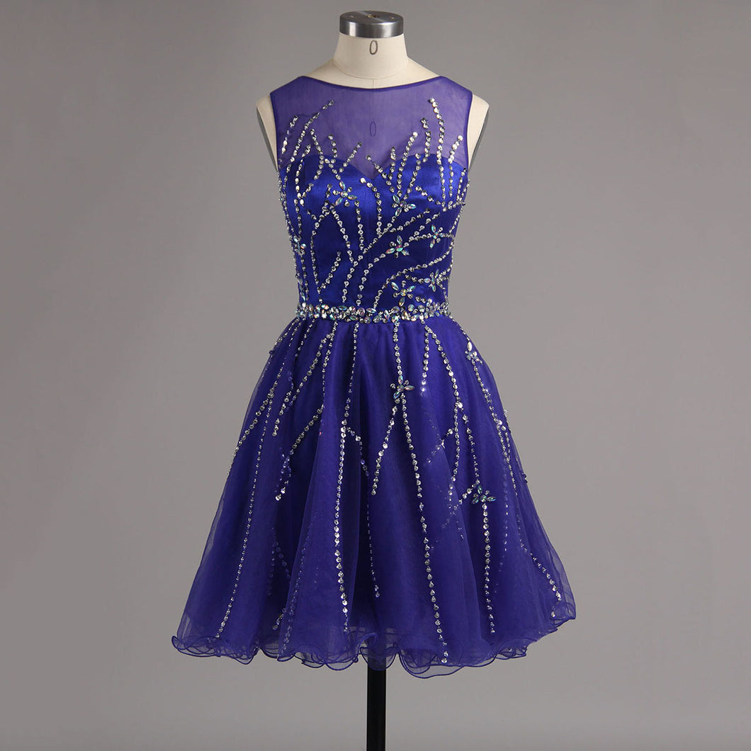 Scoop Neck Above Knee Mini Purple Beaded Tulle Prom Dress