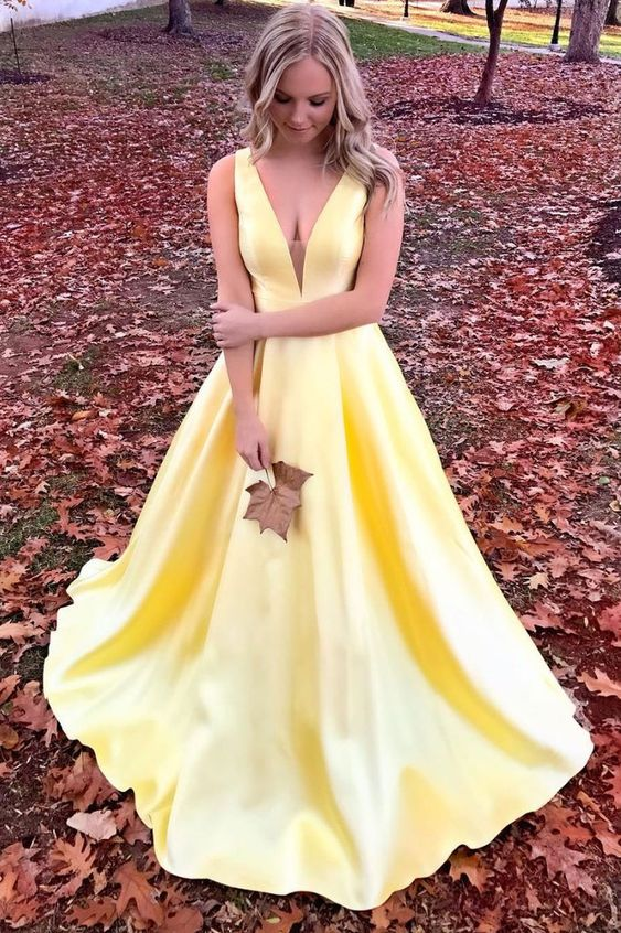 Deep V Neck A-line Yellow Satin Prom Dress Floor Length