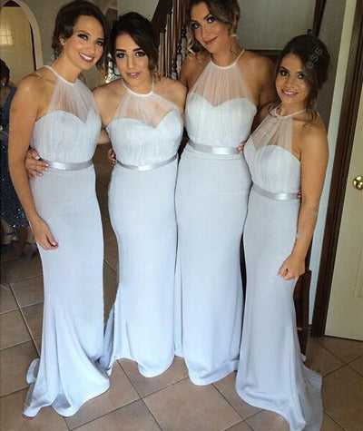 Halter Neck Sheath Light Blue Satin Bridesmaid Dress 2019