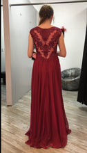 Straps A-line Long Chiffon Prom Dress with Lace Appliques Floor Length