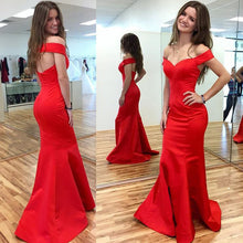 Off the Shoulder Mermaid Long Red Satin Women Prom Dress Open Back