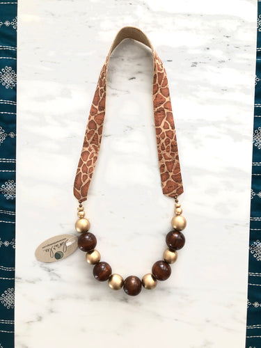 Saturn Giraffe print Necklace