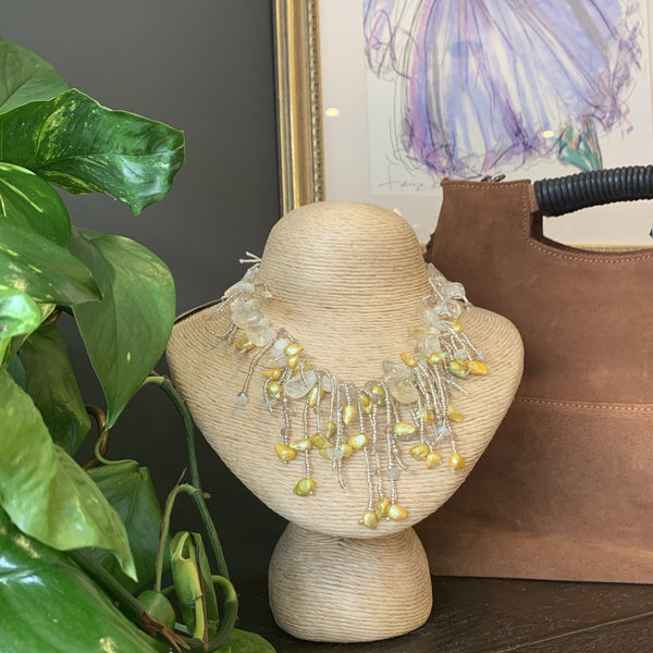 Citrus and Pearls Statement Necklace