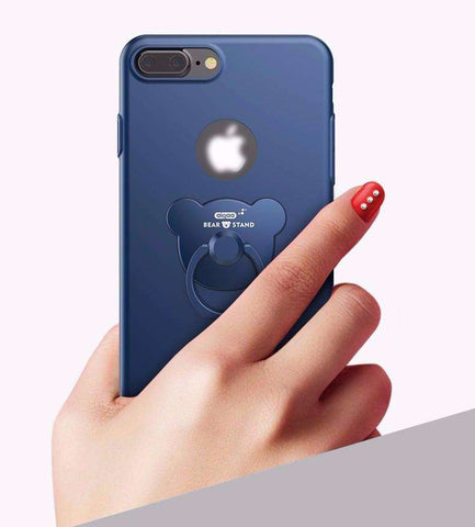 Apple iPhone 7, 7 Plus Cute Bear Metal Ring Luxury Case