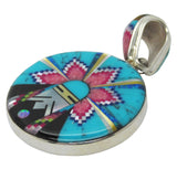 Native American Zuni Multi Stone Inlay 2 Sided Round Pendant, #34