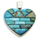 Native American Zuni Multi Stone Inlay 2 Sided Heart Pendant, #37