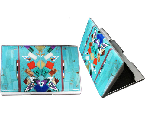 Native American Navajo Multi Stone Inlay Card Holder, #02