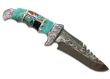 Native American Navajo Multi Stone Inlay Trophy Knife, 9""