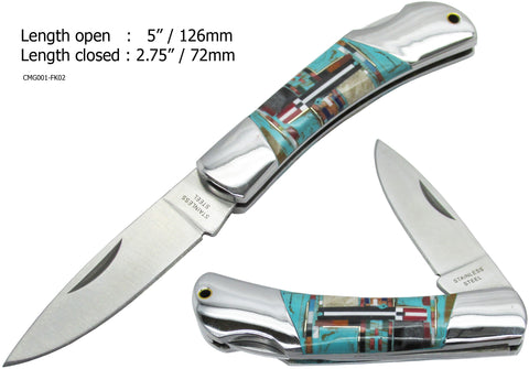 Native American Navajo Multi Stone Inlay Pocket Knife, 3""