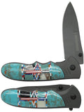 "Native American Navajo Multi Stone Inlay 4.5"" Folding Knife"