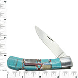 Native American Navajo Multi Stone Inlay Pocket Knife, 4""