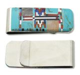 Money Clip, Native American Navajo Multi Stone Inlay, Slim