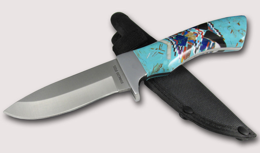 Native American Navajo Multi Stone Inlay Fixed Blade Knife, #02