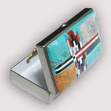 Native American Navajo Multi Stone Inlay Pill Box