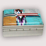 Native American Navajo Multi Stone Inlay Pill Box, #2-2