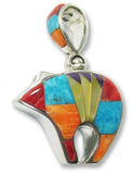Native American Navajo Multi Stone Inlay Bear Pendant, 2 Sided, #11