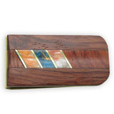 Money Clip, Native American, Wood with Gemstone Inlay, #07