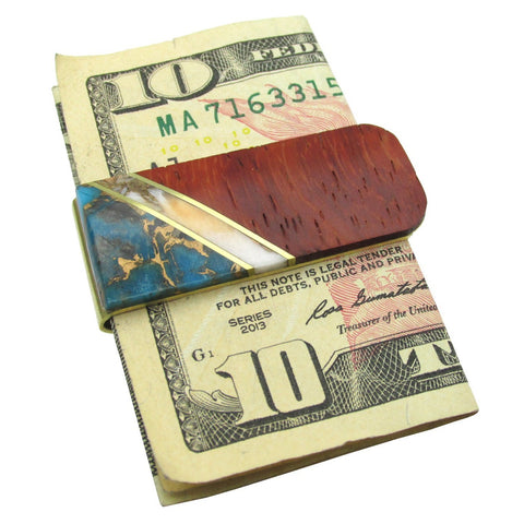 Money Clip, Native American, Wood with Gemstone Inlay, #02