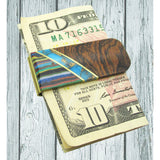 Money Clip, Native American, Wood with Gemstone Inlay, #03