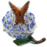 Hydrangea with Butterfly Jeweled Trinket Box with SWAROVSKI Crystals