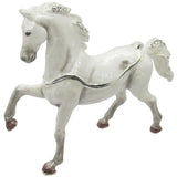 Arabian Horse Jeweled Trinket Box with Austrian Crystals, White