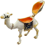 Camel Jeweled Trinket Box with Austrian Crystals, White