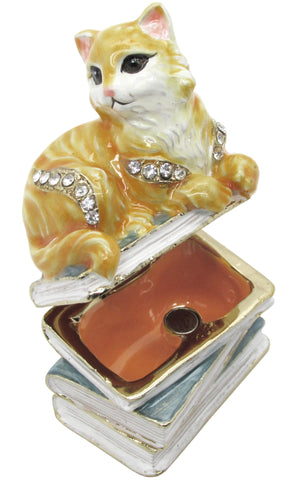 Cat Jeweled Trinket Box with SWAROVSKI Crystals #2