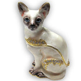 Cat (Siamese) Jeweled Trinket Box with SWAROVSKI Crystals