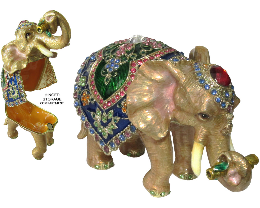 Circus Elephant Jeweled Trinket Box with Austrian  Crystals, #2