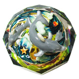 Dolphin Glass Bejeweled Trinket Box