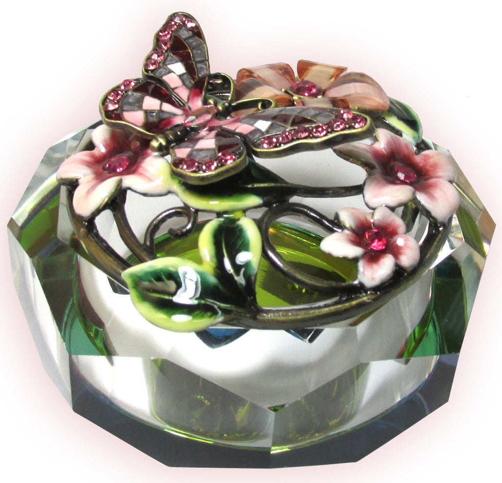Butterfly Glass Jeweled Trinket Box