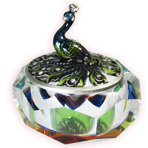 Peacock Glass Bejeweled Trinket Box