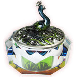 Peacock Glass Jeweled Trinket Box