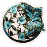 Butterfly Glass Bejeweled Trinket Box