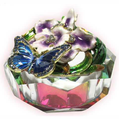 Butterfly & Flower Glass Bejeweled Trinket Box