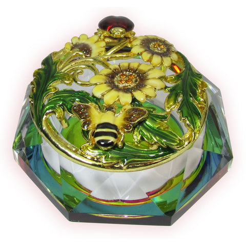 Ladybug Glass Bejeweled Trinket Box