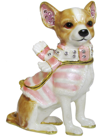 Chihuahua Jeweled Trinket Box with SWAROVSKI Crystals