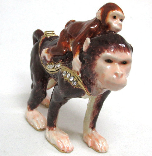 Monkey & Baby Jeweled Trinket Box with SWAROVSKI Crystals
