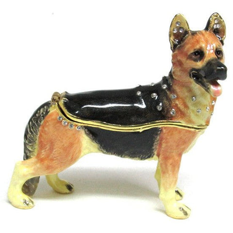 Dog (German Shepard) Jeweled Trinket Box with SWAROVSKI Crystals