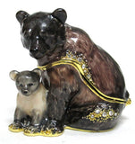 Grizzly Bear & Cub Jeweled Trinket Box with SWAROVSKI Crystals