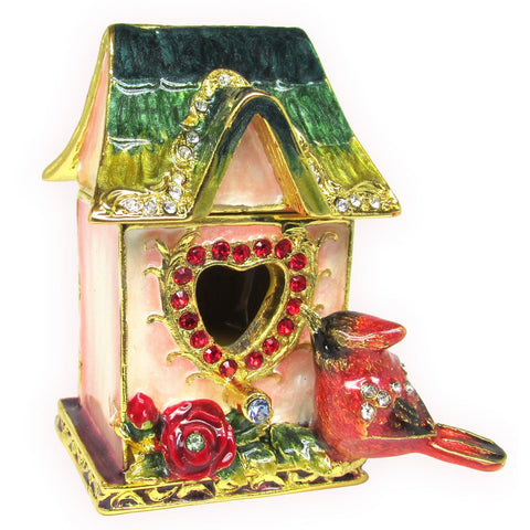 Birdhouse w Cardinal Jeweled Trinket Box with SWAROVSKI Crystals