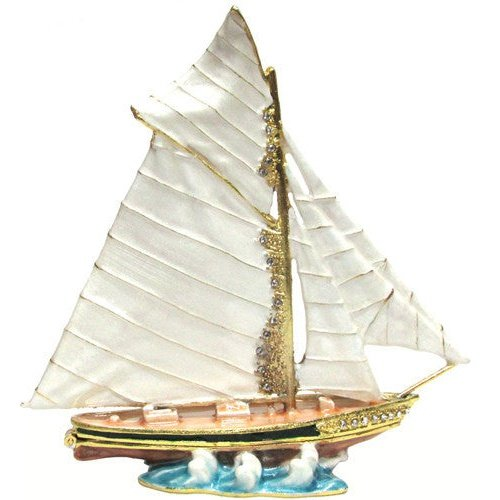 Sailboat (Large) Jeweled Trinket Box with Austrian Crystals
