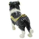 Border Collie Jeweled Trinket Box with SWAROVSKI Crystals